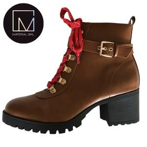 Material Girl Hillary Leather Combat Ankle Boots